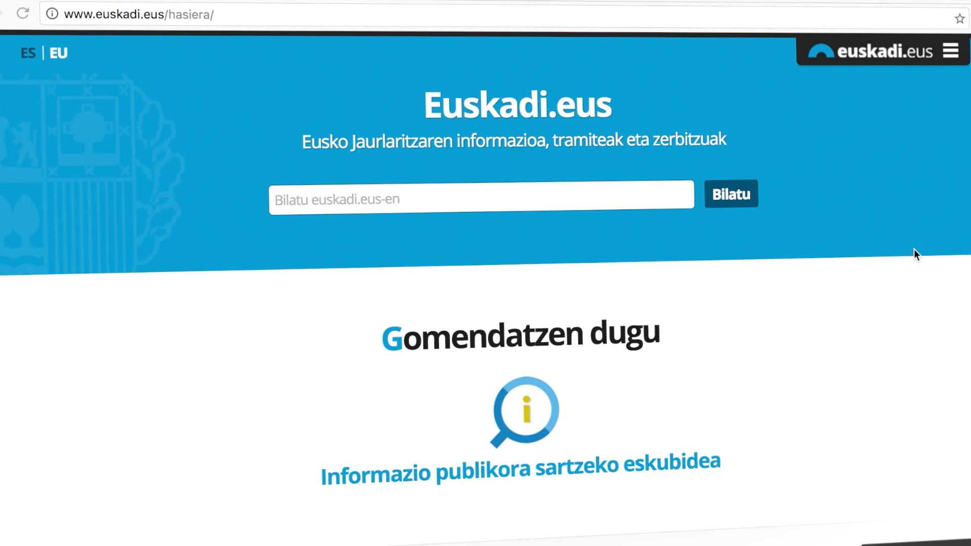 Eusko Jaurlaritzak informazio publikora sartzeko eskubidea erabiltzera bultzatzen ditu herritarrak