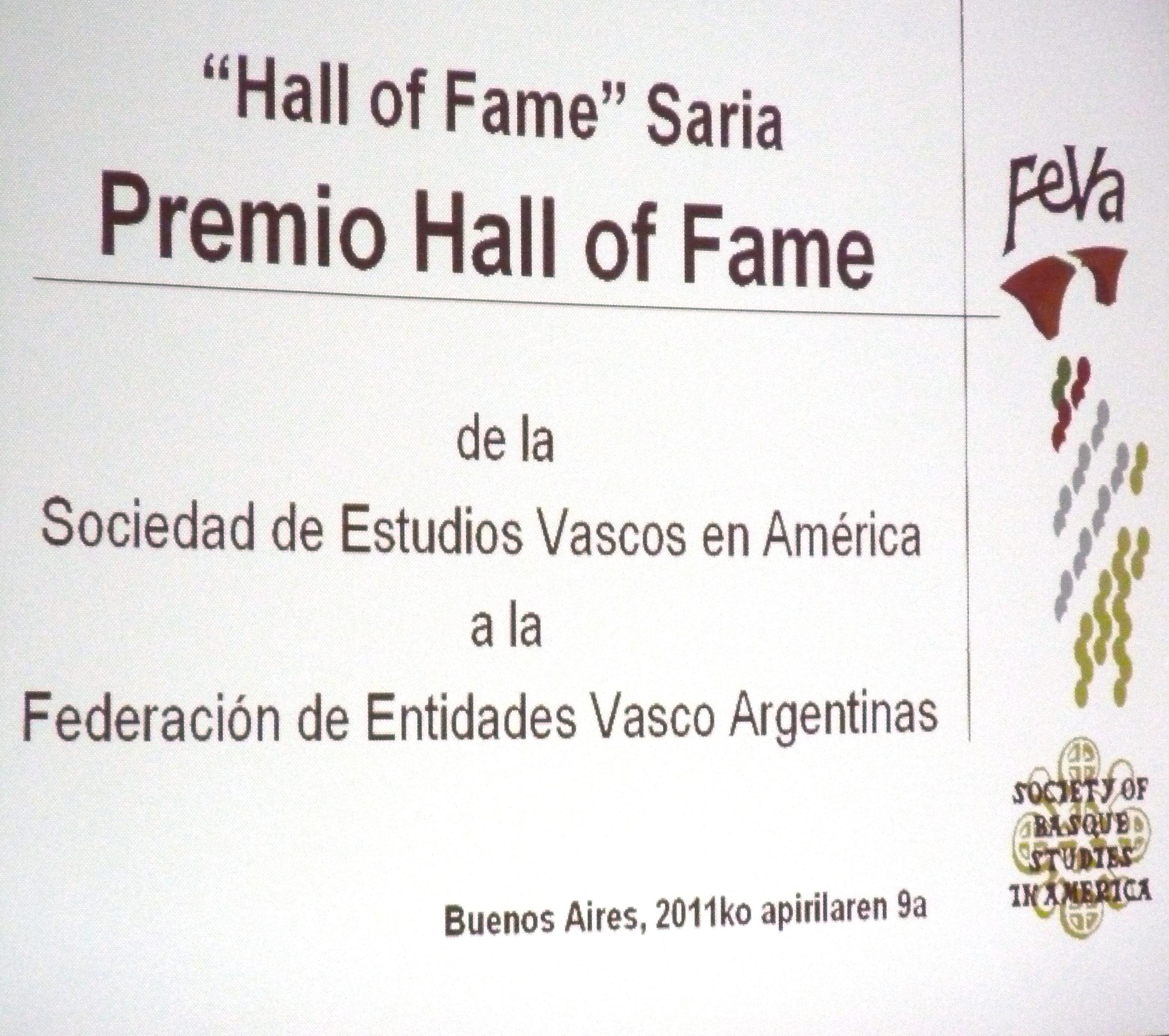 La Sociedad de Estudios Vascos en América premia a la FEVA en Argentina [2:36]