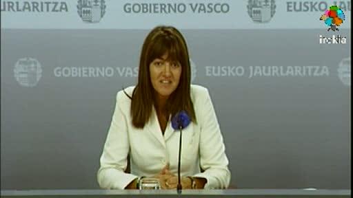 Rueda de prensa de la portavoz del Gobierno Vasco, Idoia Mendia, tras el Consejo de Gobierno [15:39]