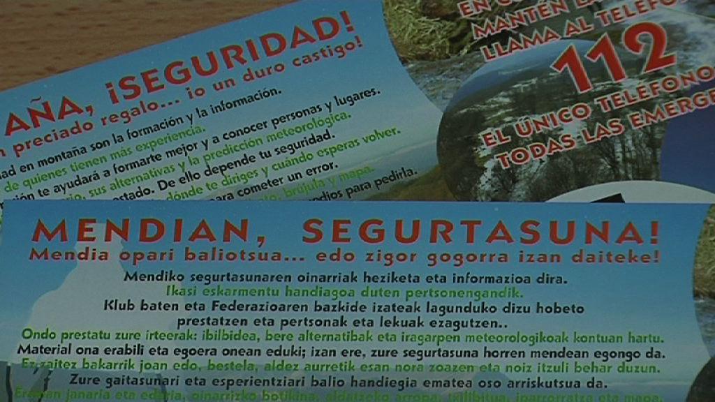 El Gobierno Vasco impulsa una campaña de prevención dirigida a los amantes de la montaña [1:14]