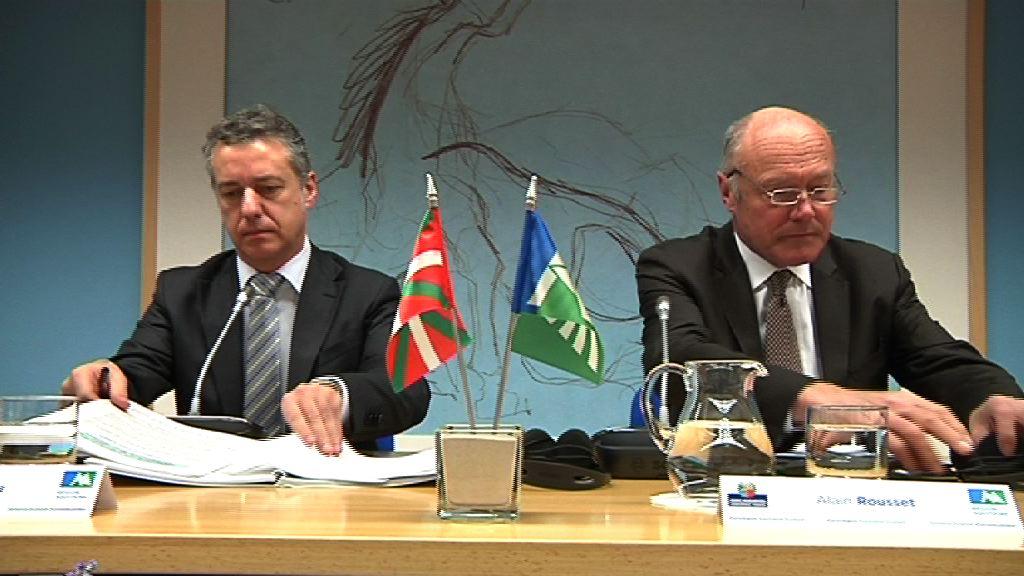 El Lehendakari recibe al presidente de Aquitania, Alain Rousset [26:41]