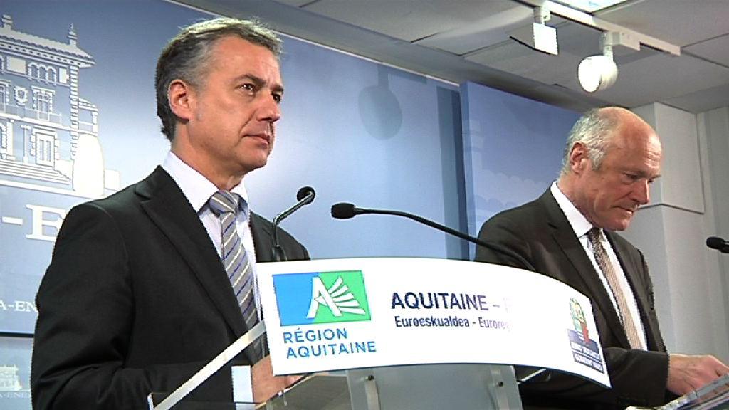 El Lehendakari recibe al presidente de Aquitania, Alain Rousset (inervención Lehendakari) [4:51]