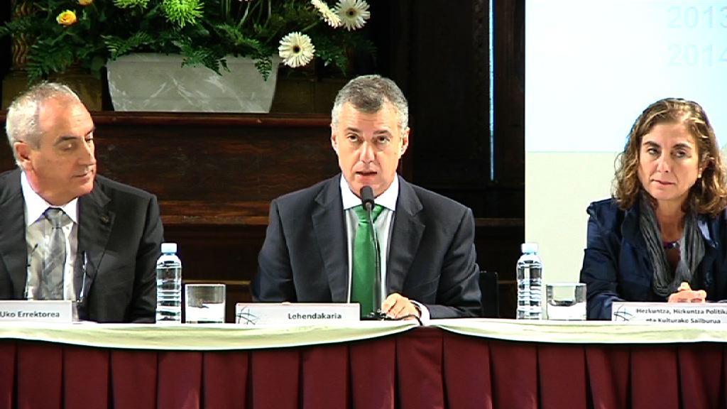 """El Lehendakari: """"queremos renovar el Plan universitario para responder mejor a las demandas de la sociedad"""" [9:51]"""