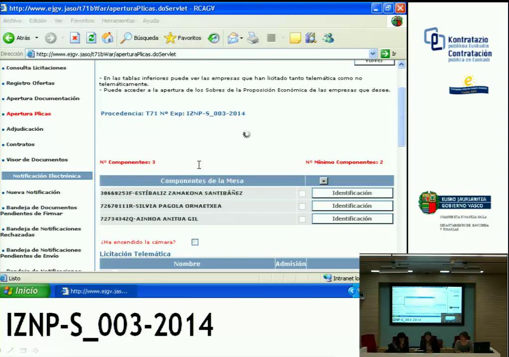 Apertura de Plicas Económica  - Expediente: IZNP-S_003-2014 - Servicios de Soporte Técnico para Izenpe [7:27]