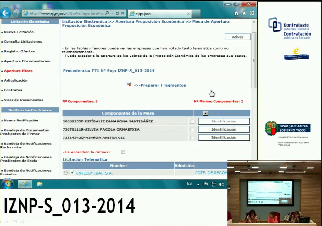 Apertura de Plicas Económica - Expediente: IZNP-S_013-2014- Servicios de gestión de puestos de registro de Izenpe (RAs) [2:53]