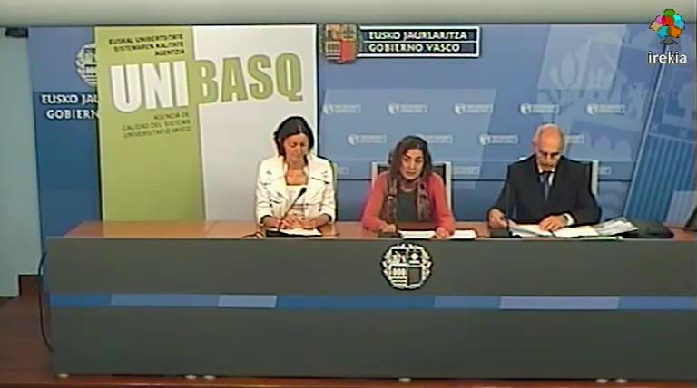 Rueda de prensa: Unibasq, miembro de pleno derecho de ENQA, Asociación Europea de Aseguramiento de la Calidad Educativa Superior [15:37]