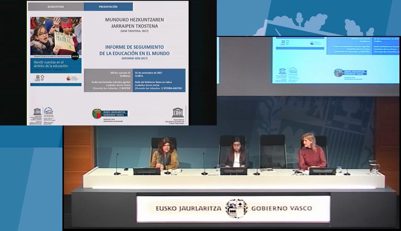 """Presentación del Informe de la UNESCO """"Rendir cuentas en el ámbito de la educación: cumplir nuestros compromisos"""""""