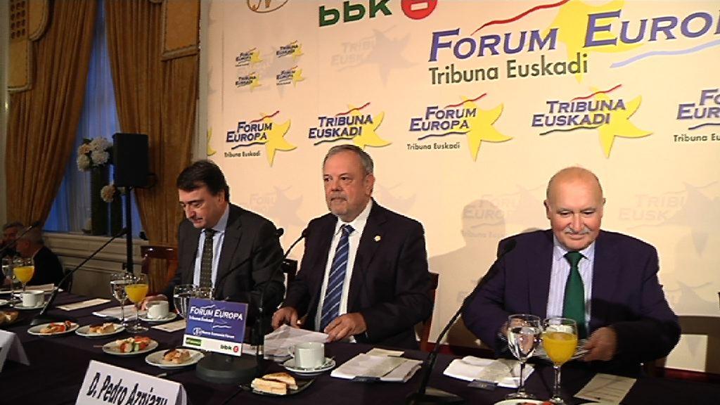 Azpiazu sailburuak euskal ogasuna eta ekonomia aztertu ditu gaur Forum Europa Tribuna Euskadi izenekoan