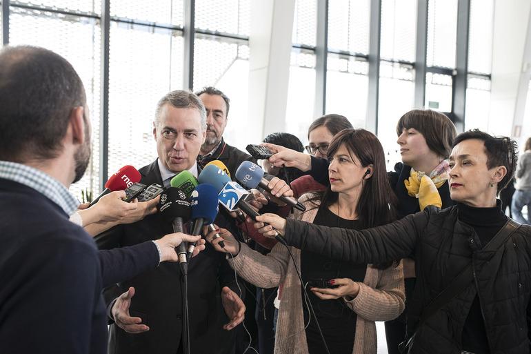 Lehendakariaren adierazpenak Espainiako Gobernuak Aurrekontuen Legea errekurritzeko duen asmoaren aurrean