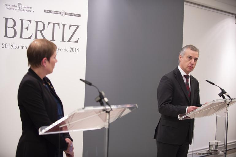 Declaración conjunta de la Presidenta de la Comunidad Foral de Navarra, Uxue Barkos, y del Lehendakari, Iñigo Urkullu