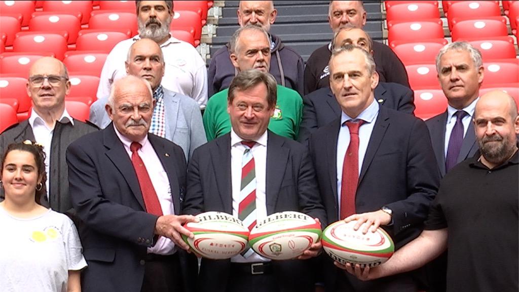 El Gobierno Vasco ha presentado en San Mamés, junto a las federaciones de rugby de Euskadi, Navarra e Iparralde, el proyecto de Euskal Liga transfronteriza