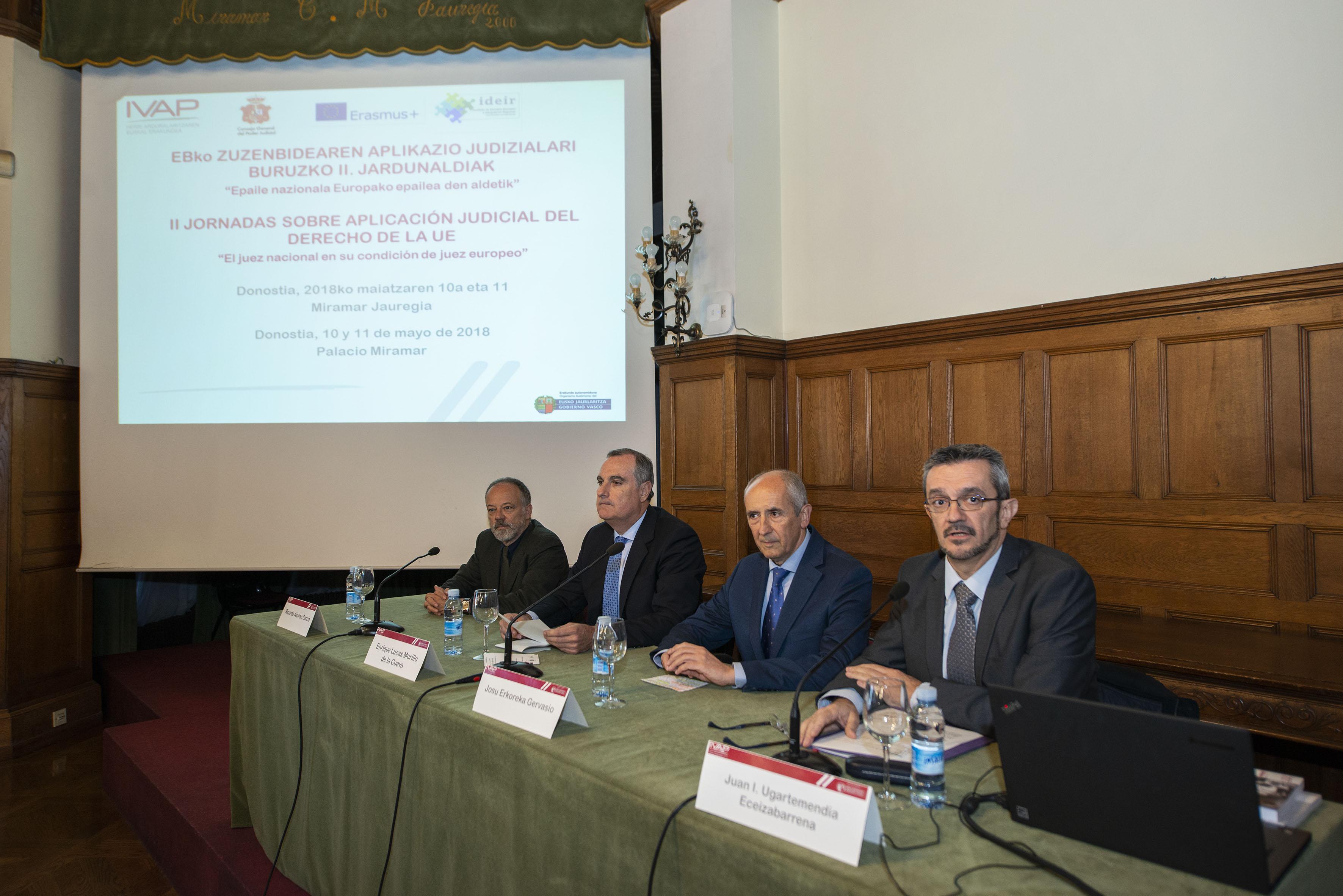Josu Erkoreka y Enrique Lucas inauguran el segundo curso de formación para profesionales de la carrera judicial y de las administraciones públicas