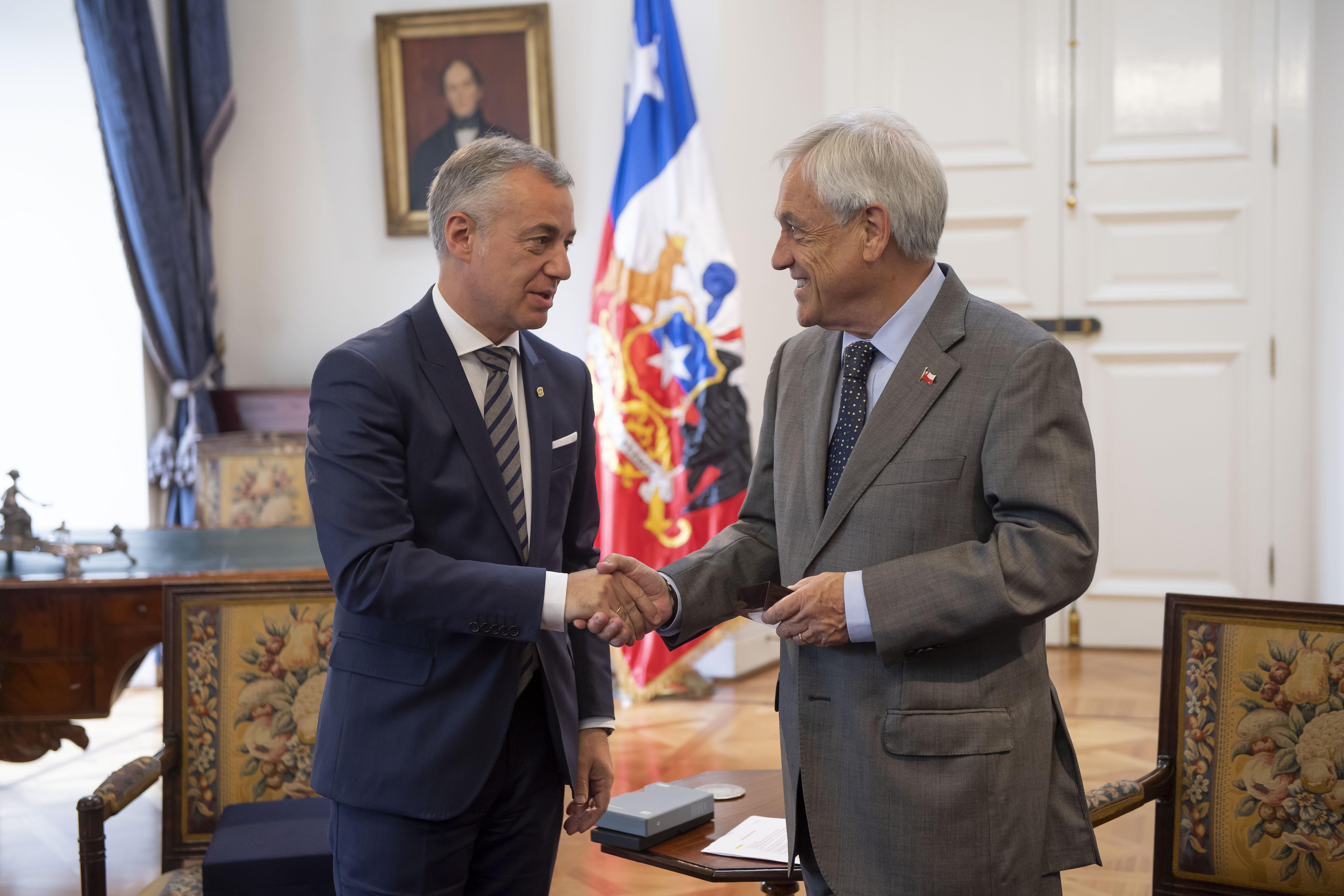 Lehendakari Urkullu meets with the President of Chile, Sebastián Piñera