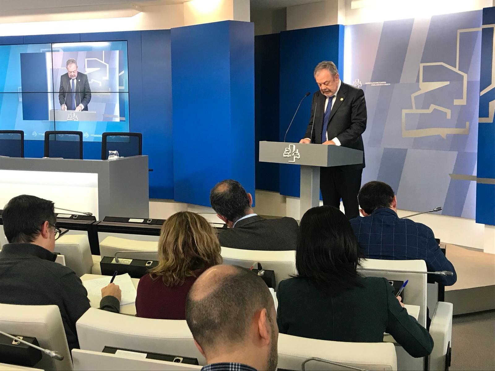 Intervención del Consejero Pedro Azpiazu tras la aprobación de los tres proyectos de ley de medidas presupuestarias urgentes para 2019.
