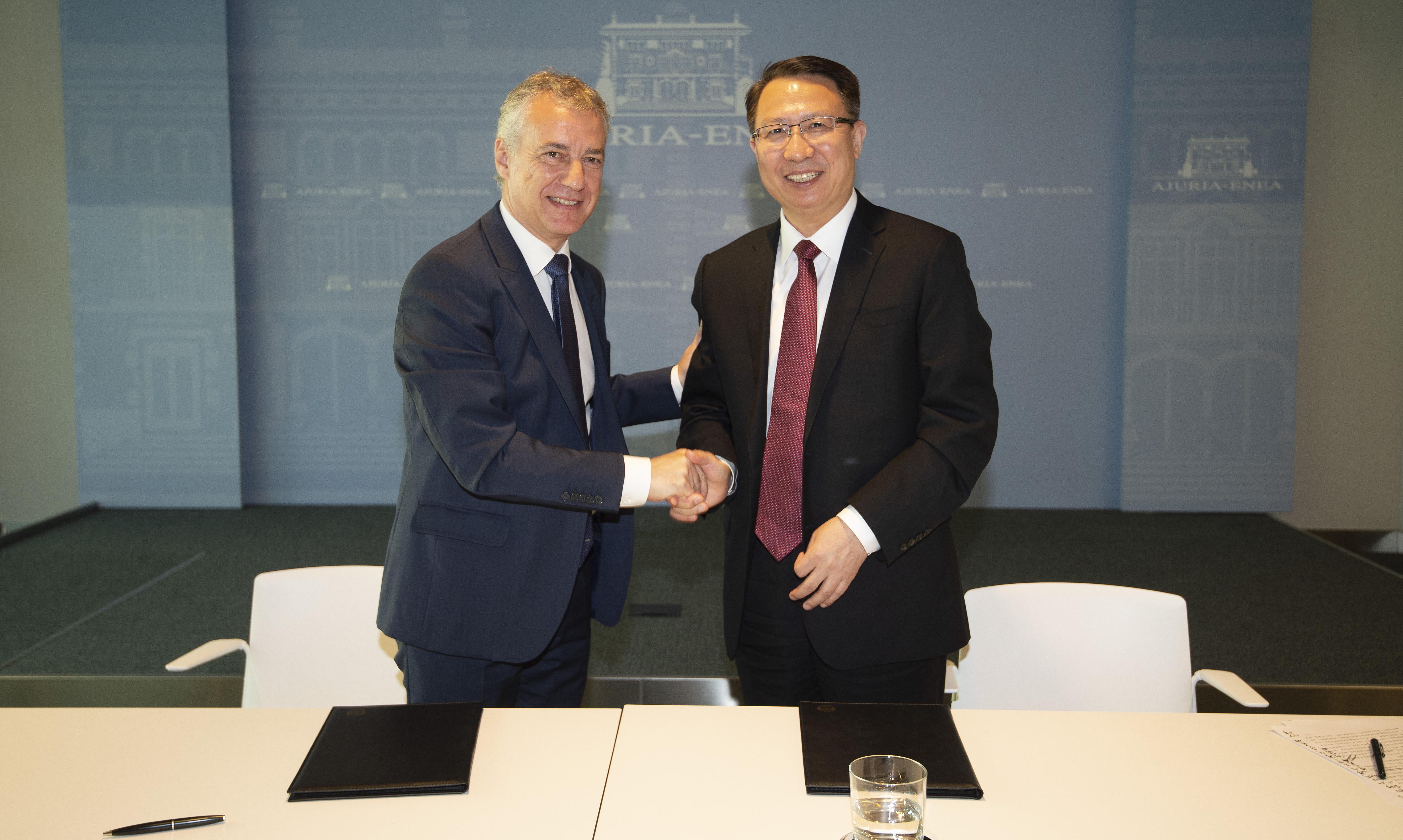 El Lehendakarise reúne con el Vicegobernador de la provincia de Jiangsu