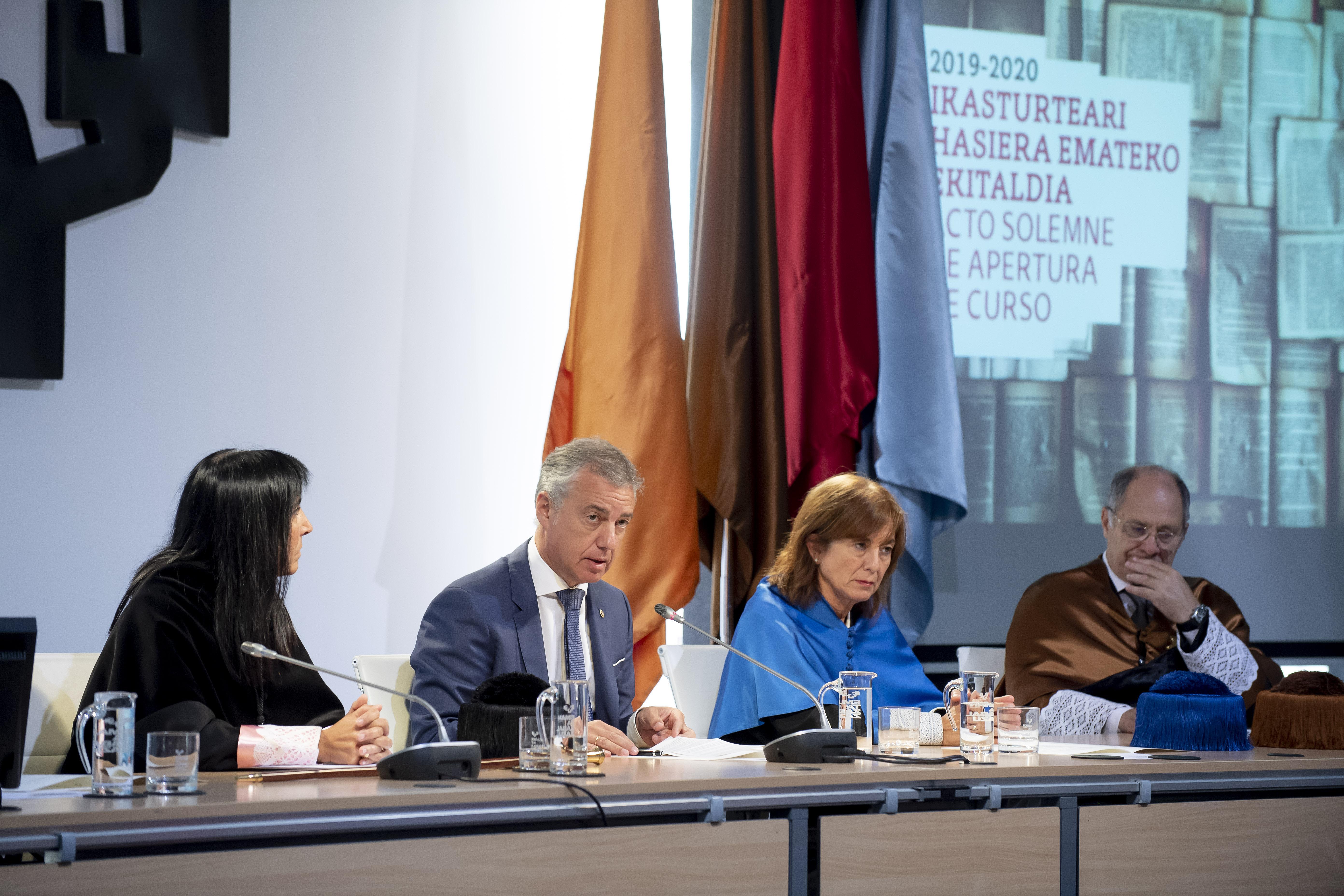 UPV/EHU Euskal Herriko Unibertsitatearen 2019-2020 ikasturteari hasiera eman dio Lehendakariak