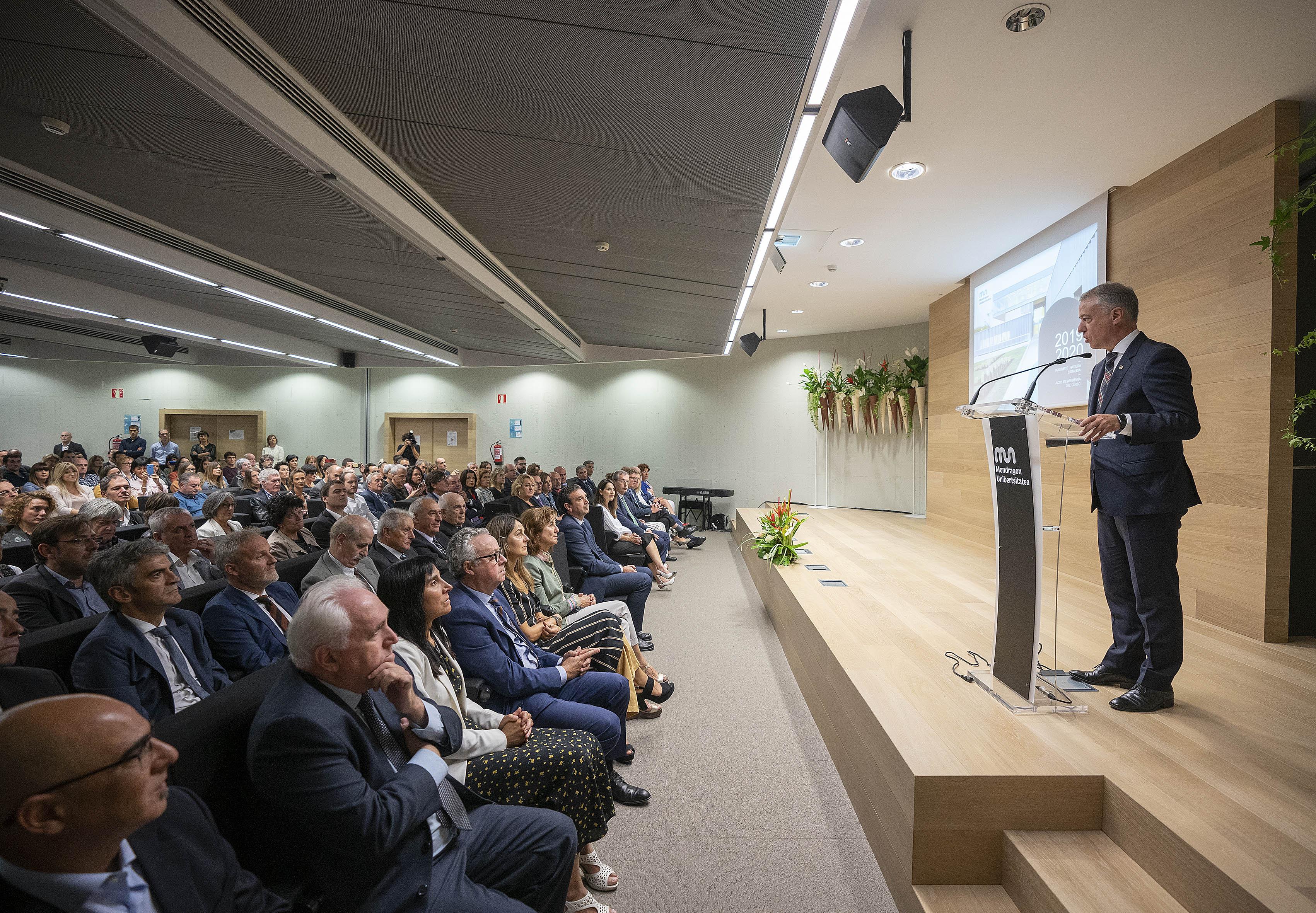 El Lehendakari preside la apertura al curso 2019-2020 de Mondragon Unibertsitatea