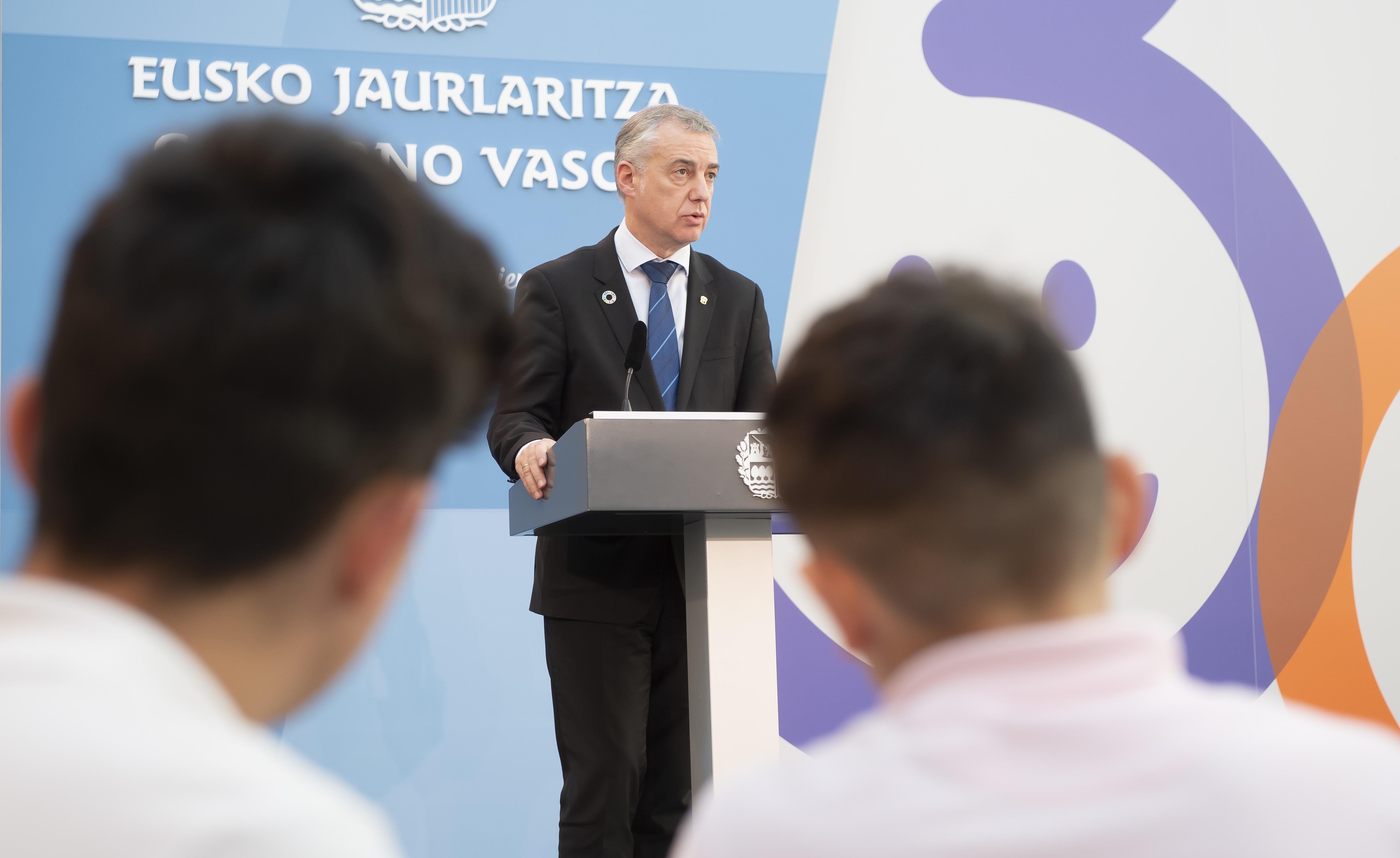 """Iñigo Urkullu propone """"más cercanía, consenso y compromiso como base del legado que la sociedad vasca ha de trasladar a sus niñas y niños"""""""