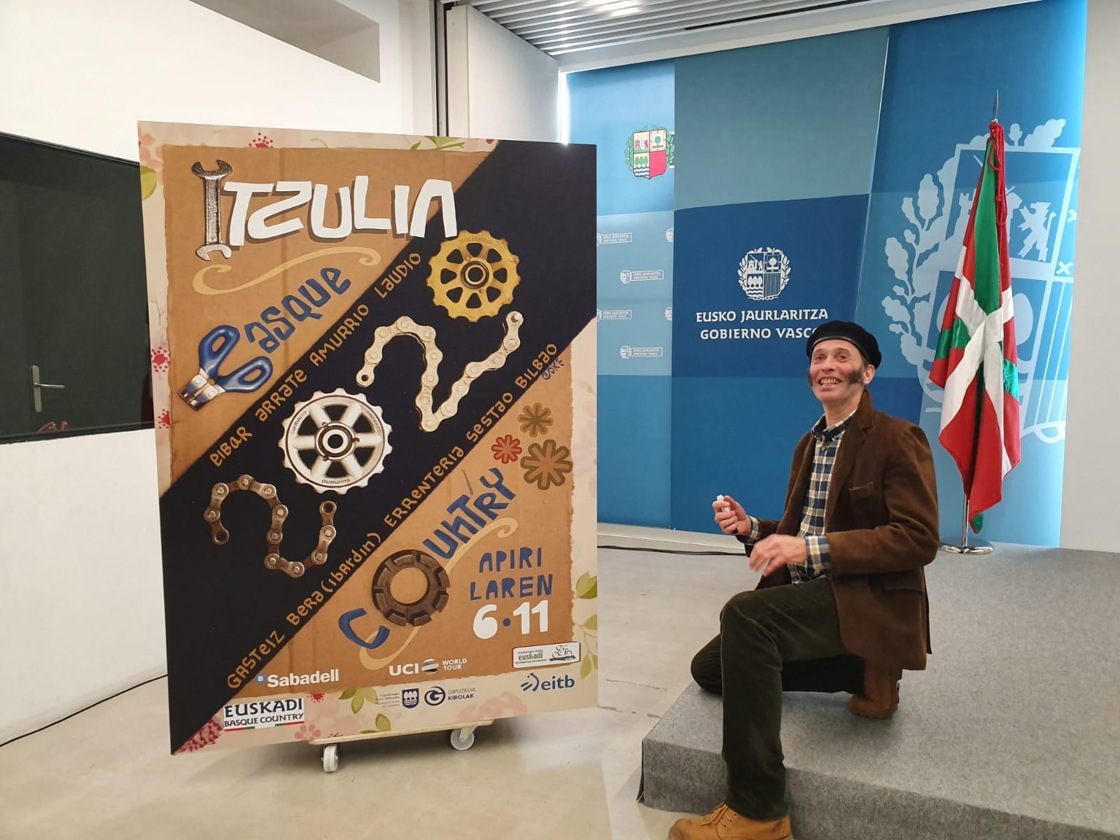 La Itzulia ha presentado su cartel de este año, obra del artista navarro Asisko Urmeneta, ganador del Premio Euskadi de Literatura en la modalidad de Ilustración de una Obra Literaria