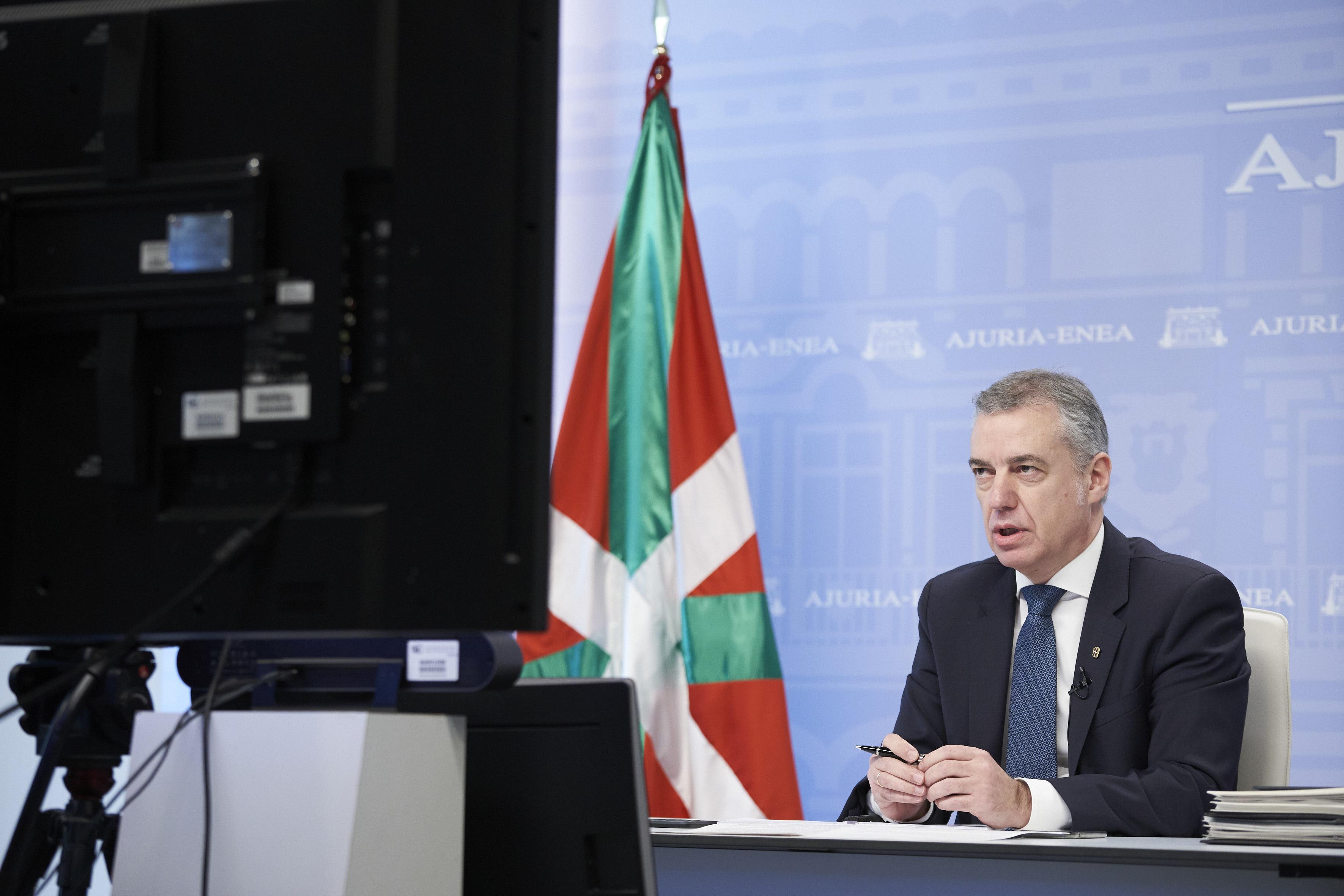 Lehendakariak Euskadin birusaren eragina arintzeko lehentasunak azpimarratu ditu bideokonferentzia bidezko bileran [7:27]