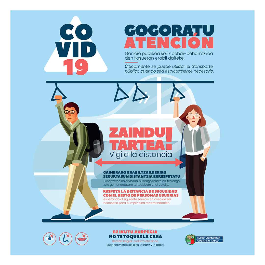 Euskadi adaptará la oferta de transporte público para atender la demanda a partir del próximo 14 de abril, primera jornada laboral tras Semana Santa