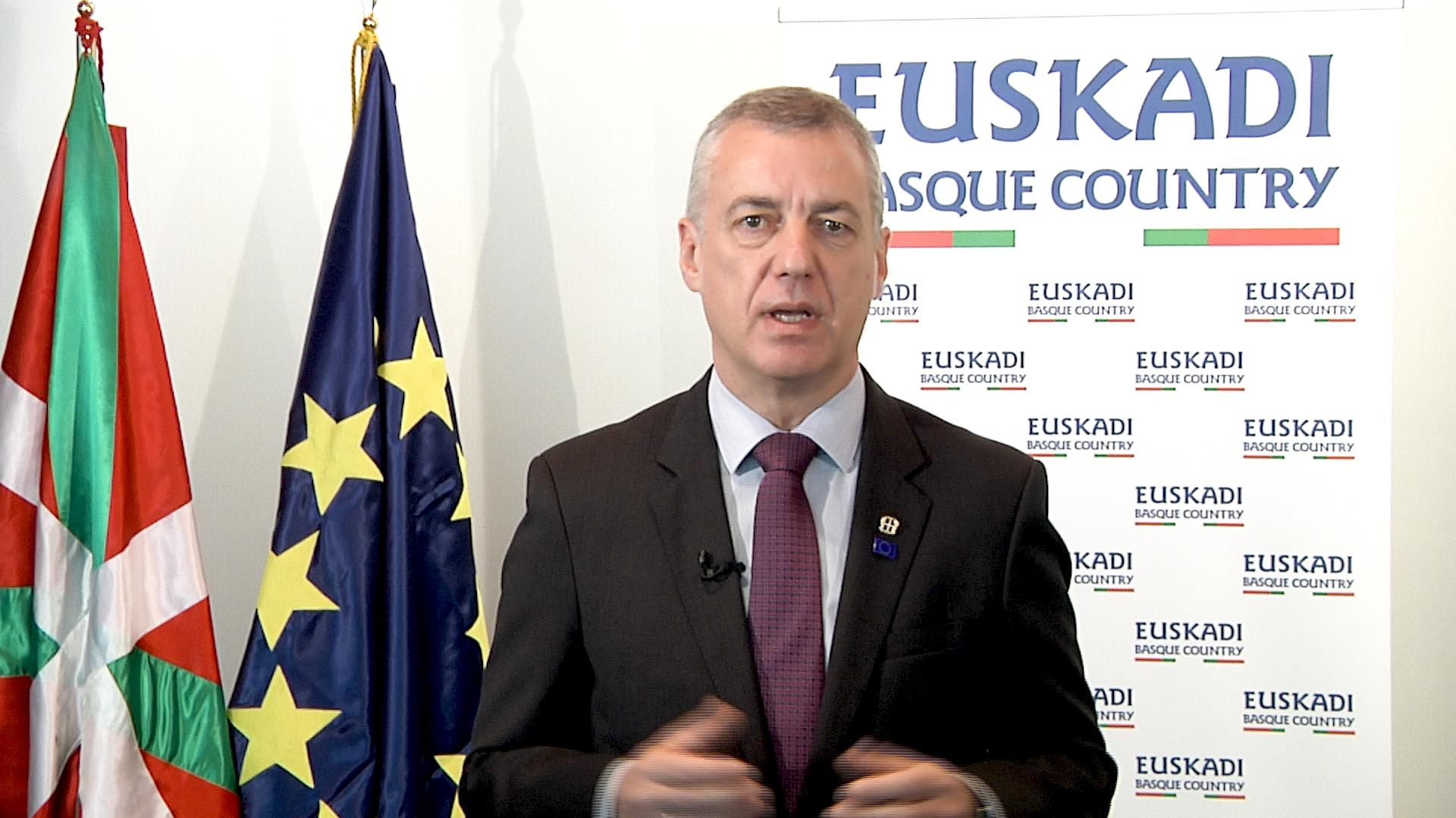 El Lehendakari señala que el futuro dependerá de la respuesta de la Unión Europea a la pandemia [3:36]