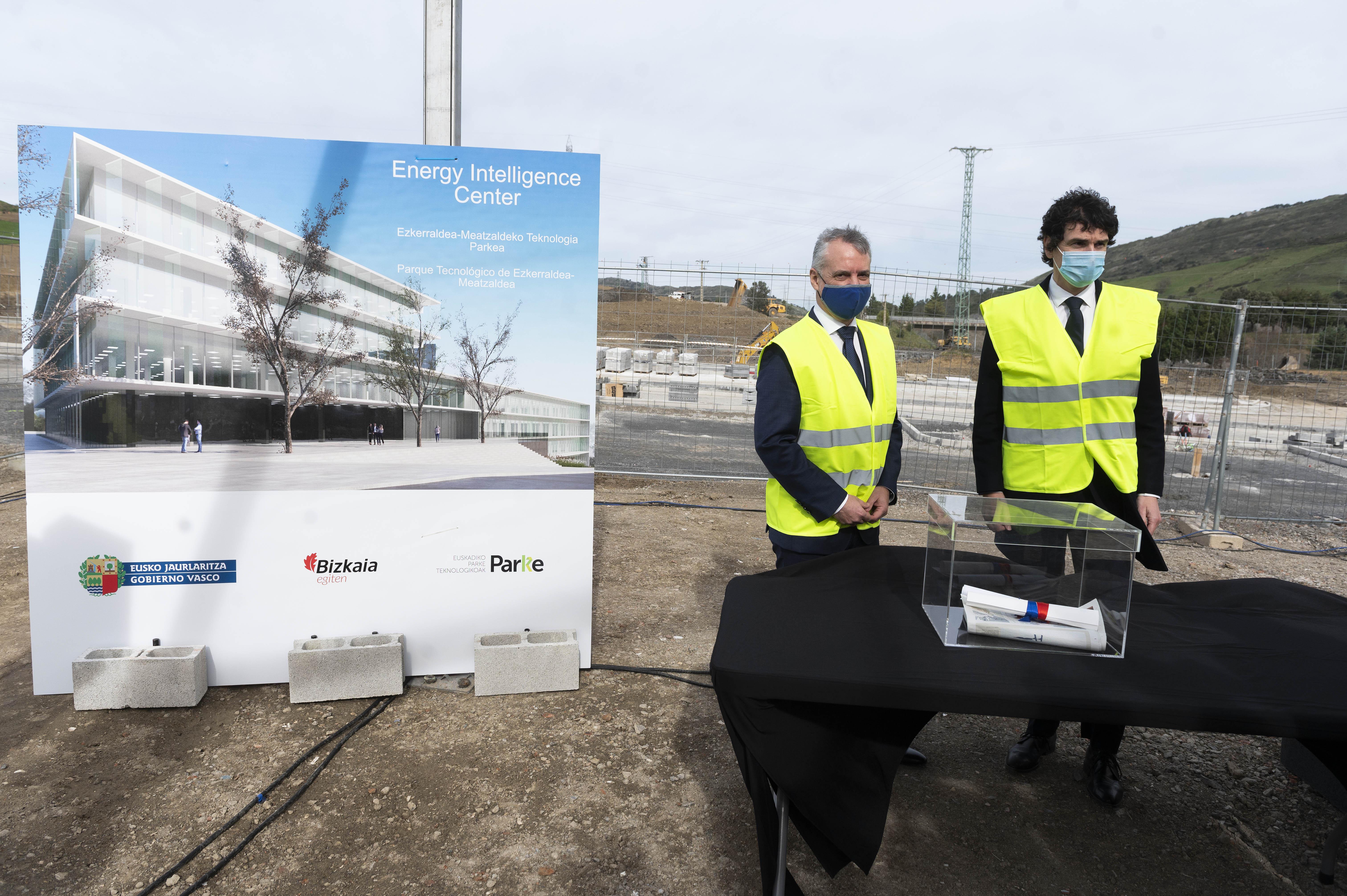 La primera piedra del EIC en el futuro Parque Tecnológico de Ezkerraldea-Meatzaldea refuerza las capacidades de Euskadi para la transición energética [12:03]