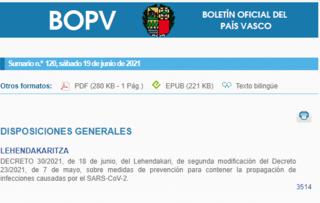Publicado el Boletín Oficial del País Vasco con las nuevas medidas por el Covid-19 en Euskadi